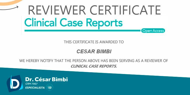 Dr. César Bimbi recebeu uma carta de agradecimento pelos serviços de revisor da Revista Clinical Case Reports.